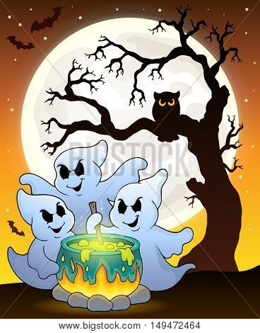 Ghosts stirring potion theme image 6 - eps10 vector illustration.
