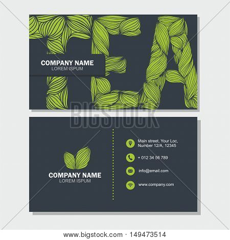Business Card Or Visiting Card Template With Letter Tea . Vector Design Editable Template