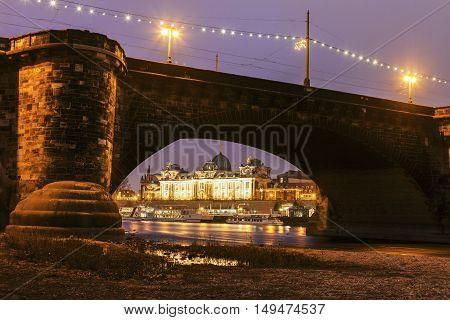 Augustus Bridge on Elbe River. Dresden Saxony Germany.