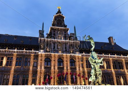City Hall of Antwerp at night. Antwerp Flemish Region Belgium