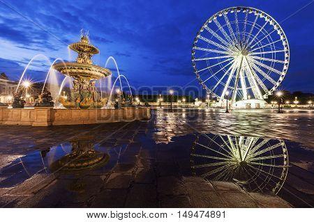 Ferris Wheel on Place de la Concorde in Paris. Paris France