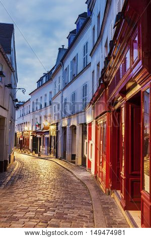 Streets of Montmarte at night. Paris France.
