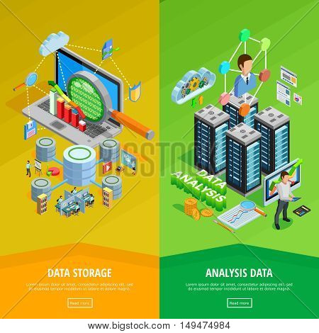Big data storage and analysis technology informatio decisions 2 isometric vertical banners webpage design isolated vector illustration