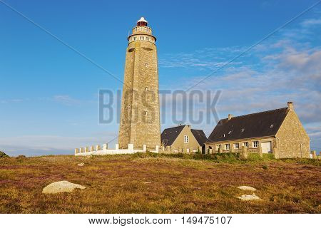 Cap Levi Lighthouse at sunset. Fermanville-Bourg Normandy France.