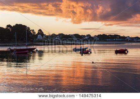 Sunrise in Benodet area. Benodet Brittany France