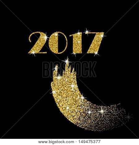 2017 Happy New Year Gold Vector Design with Glitter Stroke Brush on a Black Background. Golden Glitter New Year Poster. Background for Flyer, Banner, Web, Header.