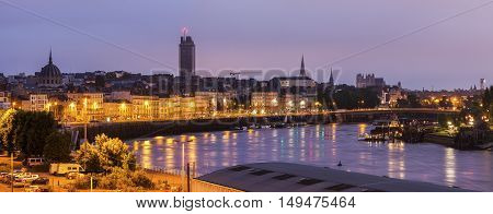 Panorama of Nantes at sunrise. Nantes Pays de la Loire France