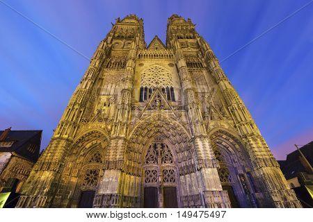 Tours Cathedral at sunrise. Tours Pays de la Loire France