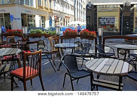 Garden restaurant in the Streets of WROCLAW in POLAND - 12.09.2016: Poland Europe.
