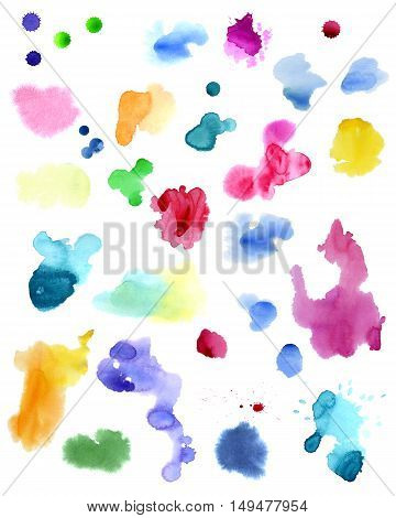 Watercolor splashes isolated on white background. Hand drawn illustration. Abstract colorful shapes.