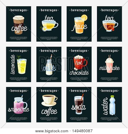 Set of non-alcoholic drinks tags - tea, herbal tea, hot chocolate, latte, coffee, juice, smoothie, soda, milkshake, lemonade, water. Design template labels. Vector illustration, isolated on white.