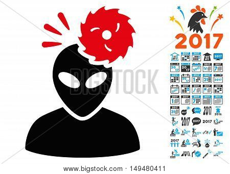 Alien Exploration icon with 2017 year bonus vector pictographs. Clipart style is flat symbols, white background.