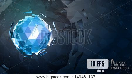 Polygonal abstract triangle sphere combination glow on dark background graphic template