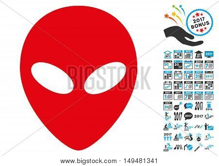 Alien Head icon with 2017 year bonus vector pictograms. Clipart style is flat symbols, white background.
