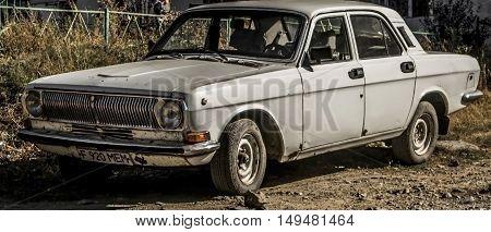Kazakhstan, Ust-Kamenogorsk, september 30, 2016: volga, old car, old soviet car in the street, gaz 24, vintage car, retro car, sedan