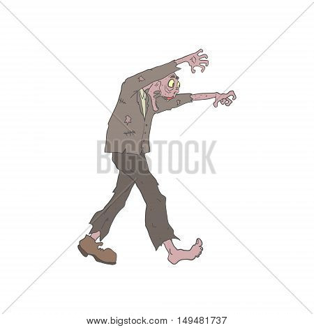 Man In A Suit Creepy Zombie With Rotting Flesh Outlined Hand Drawn Adult Style Illustration Isolated On White Background