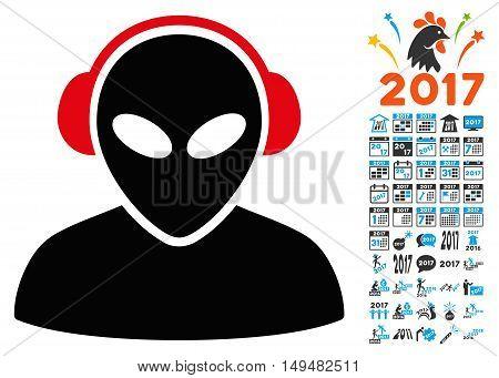 Alien Operator icon with 2017 year bonus vector pictograms. Set style is flat symbols, white background.