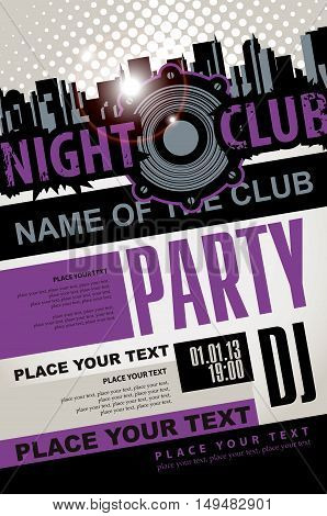 Playbill for the musical party in night club with speaker over modern city background