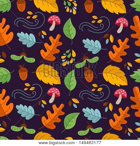 Vector autumn seamless pattern with mushroom acornoak and maple leaves. Autumn elements. Perfect for wallpaper gift paper pattern fills web page background autumn greeting cards.