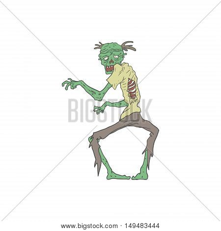 Green Skin Creepy Zombie With Rotting Flesh Outlined Hand Drawn Adult Style Illustration Isolated On White Background