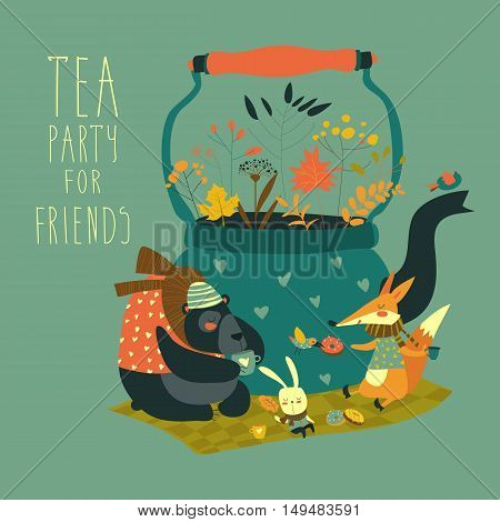Cute animals friends sitting around teapot. Vector illustration