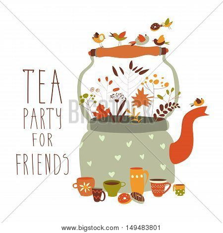 Tea party with teapot and cups. Vector illustration