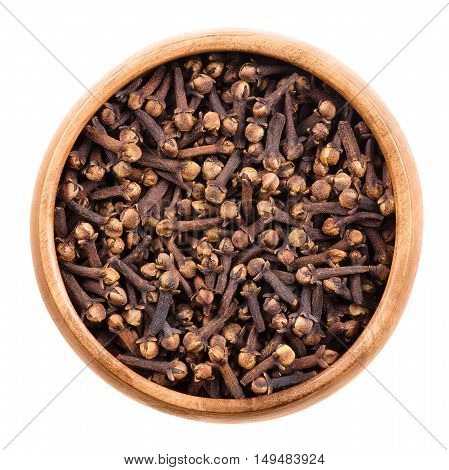 Dried cloves in a wooden bowl on white background. Brown aromatic flower buds of Syzygium aromaticum, commonly used as spice, in beverages or in herbal medicine. Isolated macro food photo close up.