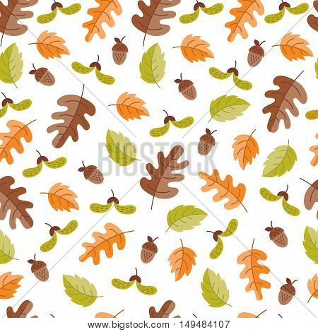 Vector autumn seamless pattern with acorn oak leaves. Autumn elements isolated on white background. Perfect for wallpaper gift paper pattern fills web page background autumn greeting cards.