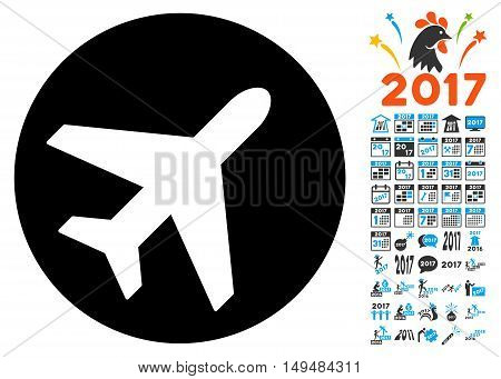 Avion icon with 2017 year bonus vector design elements. Set style is flat symbols, white background.