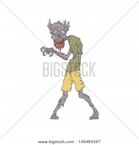 One Arm Creepy Zombie With Rotting Flesh Outlined Hand Drawn Adult Style Illustration Isolated On White Background