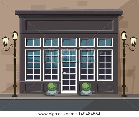 Vector Old Europian Shop Boutique Museum Restaurant Cafe Store Front with Big Windows, Place for Name, Greenery, Street Lanterns and Paving Stones