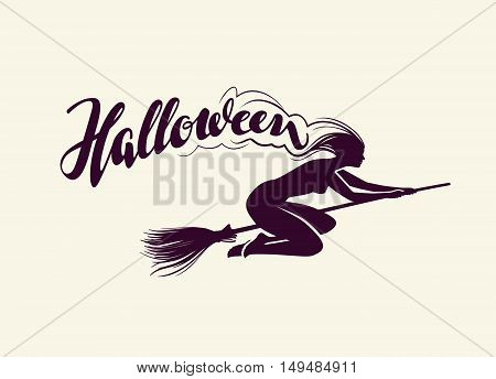 Halloween. Beautiful witch flying on broomstick. Greeting card