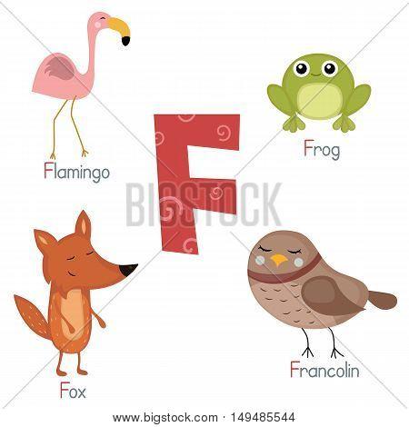 Cute vector zoo alphabet. Funny cartoon animals: flamingo frog fox francolin.