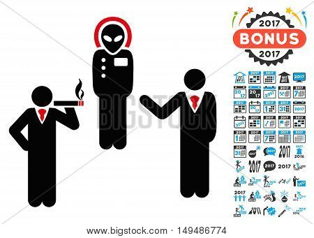 Dialog With Alien icon with 2017 year bonus vector pictographs. Design style is flat symbols, white background.