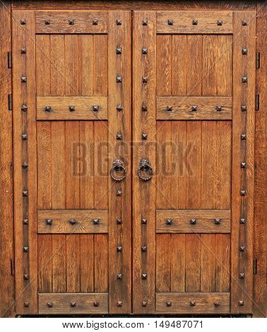 medieval oak door, Gothic style, the castle doors, heavy equipment, defense, knights royal chambers