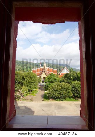 Nice view from the window to Thai Buddhist temple, Chalong temple Phuket Thailand