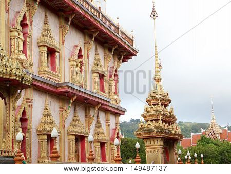 Very nice exterior of east pagoda of Chalong temple, Phuket Thailand.