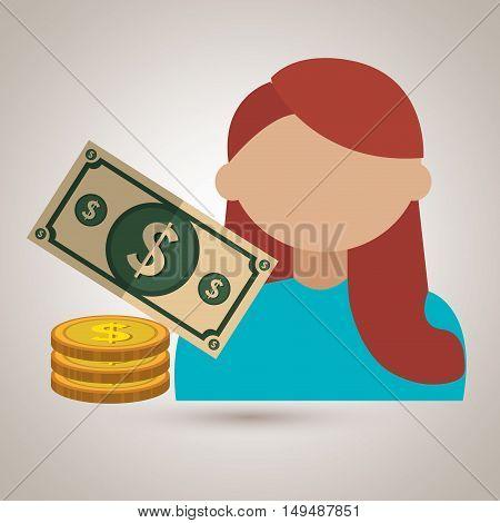 avatar money bill coin vector illustration eps 10