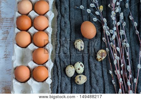 Eggs In A Cardboard Tray With Pussy Willow