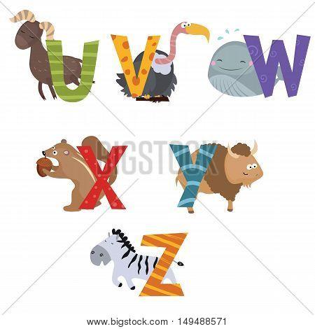 Cute vector zoo alphabet. Funny cartoon animals: urial vulture whale xerus yak zebra.