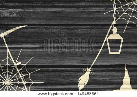 Haunted House interior. Witch house accessories. Wood texture
