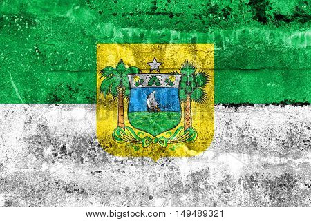 Flag Of Rio Grande Do Norte State, Brazil, Painted On Dirty Wall