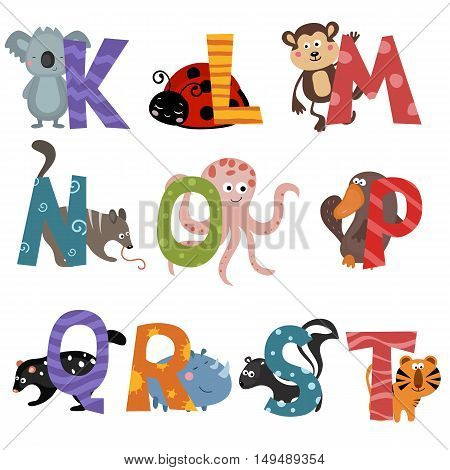 Cute vector zoo alphabet. Funny cartoon animals: koala ladybug monkey numbat octopus platypus quoll rhino skunk tiger