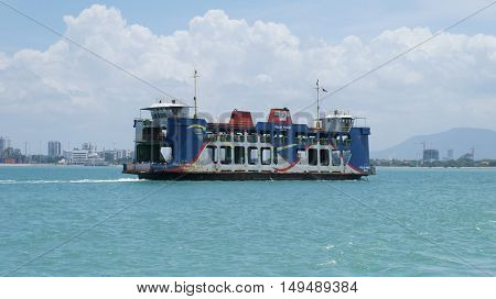 PENANG, MALAYSIA - September 24, 2016: Penang Heritage Ferry transporting passengers from main land to Penang Island.