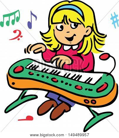 Hand drawn. Vector illustration.The girl who plays the piano