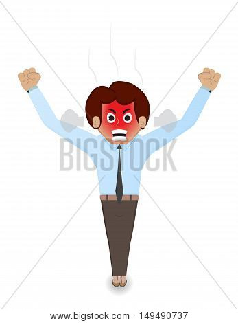 cartoon businessman angry with red face and yelling