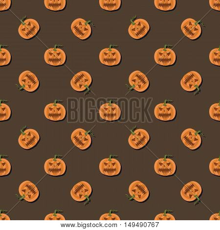 Pattern of pumpkins on brown background for Halloween