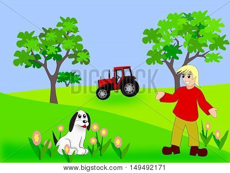 A girl with a white dog, and a tractor and two trees in the background.