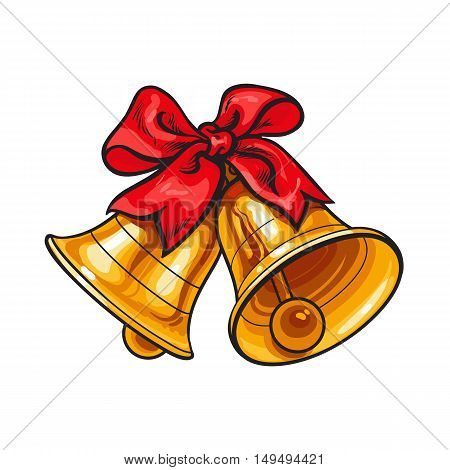 Golden Christmas bells with a red bow, cartoon vector illustration isolated on white background. Traditional pair of Xmas bells with a red ribbon, Christmas decoration element
