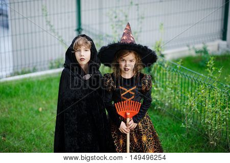 Two children brother and sister are dressed in suits for Halloween. Boy represents the magician girl - the magician. Children stand on a green lawn. They are ready to go behind sweets.Children like Halloween.